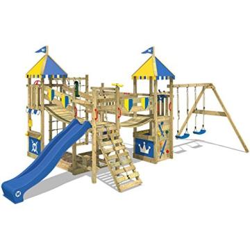 WICKEY Spielturm Smart Queen - Riesiges Klettergerüst mit Schaukel, Sandkasten, Kletterwänden und -leiter, Wackelbrücken, blauer Wellenrutsche und viel Spiel-Zubehör - 1
