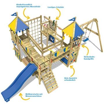 WICKEY Spielturm Smart Queen - Riesiges Klettergerüst mit Schaukel, Sandkasten, Kletterwänden und -leiter, Wackelbrücken, blauer Wellenrutsche und viel Spiel-Zubehör - 5