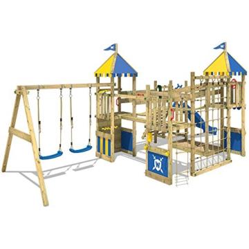 WICKEY Spielturm Smart Queen - Riesiges Klettergerüst mit Schaukel, Sandkasten, Kletterwänden und -leiter, Wackelbrücken, blauer Wellenrutsche und viel Spiel-Zubehör - 6