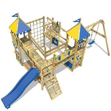 WICKEY Spielturm Smart Queen - Riesiges Klettergerüst mit Schaukel, Sandkasten, Kletterwänden und -leiter, Wackelbrücken, blauer Wellenrutsche und viel Spiel-Zubehör - 7
