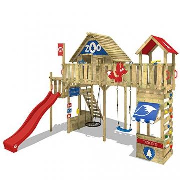 WICKEY Spielturm Smart Ranger Stelzenhaus Spielplatz auf 200cm Podesthöhe mit Holzdach, Rutsche, Turm-Schaukel, Brücke zum Kletterturm, Kletterwand, Aufstiegstreppe und Nestschaukel - 2