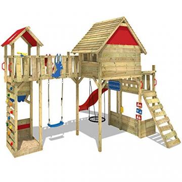 WICKEY Spielturm Smart Ranger Stelzenhaus Spielplatz auf 200cm Podesthöhe mit Holzdach, Rutsche, Turm-Schaukel, Brücke zum Kletterturm, Kletterwand, Aufstiegstreppe und Nestschaukel - 3