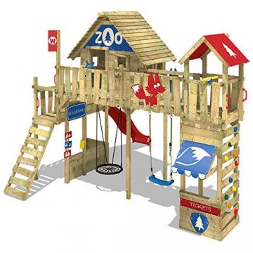 WICKEY Spielturm Smart Ranger Stelzenhaus Spielplatz auf 200cm Podesthöhe mit Holzdach, Rutsche, Turm-Schaukel, Brücke zum Kletterturm, Kletterwand, Aufstiegstreppe und Nestschaukel - 4