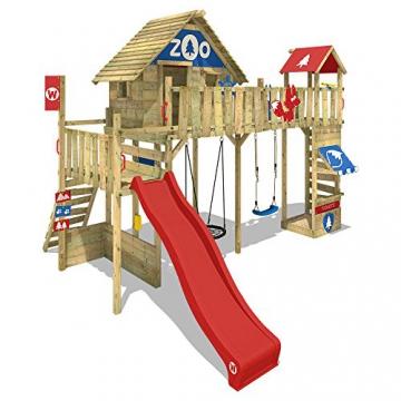 WICKEY Spielturm Smart Ranger Stelzenhaus Spielplatz auf 200cm Podesthöhe mit Holzdach, Rutsche, Turm-Schaukel, Brücke zum Kletterturm, Kletterwand, Aufstiegstreppe und Nestschaukel - 1