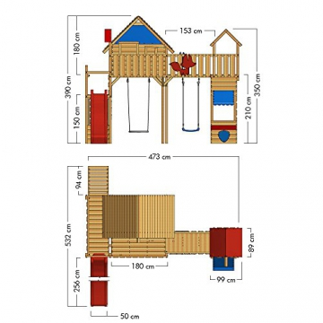 WICKEY Spielturm Smart Ranger Stelzenhaus Spielplatz auf 200cm Podesthöhe mit Holzdach, Rutsche, Turm-Schaukel, Brücke zum Kletterturm, Kletterwand, Aufstiegstreppe und Nestschaukel - 6