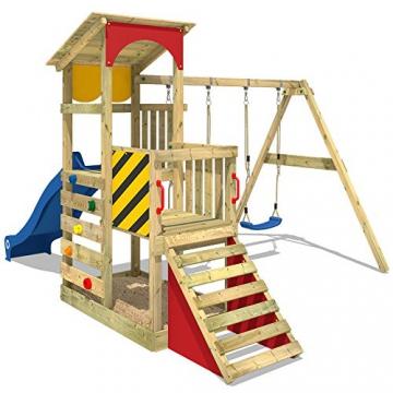 WICKEY Spielturm Smart Scoop Kletterturm Klettergerüst mit Rutsche, doppelter Schaukel, Kletterwand und Sandkasten, blaue Rutsche + gelb-rote Plane - 2