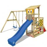 WICKEY Spielturm Smart Scoop Kletterturm Klettergerüst mit Rutsche, doppelter Schaukel, Kletterwand und Sandkasten, blaue Rutsche + gelb-rote Plane - 1