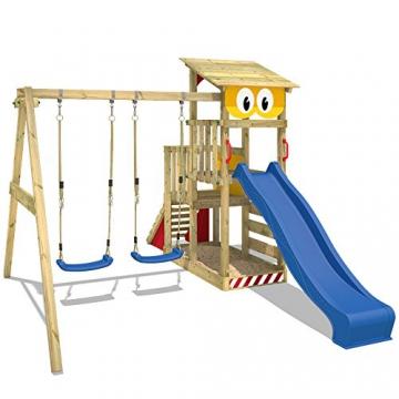 WICKEY Spielturm Smart Scoop Kletterturm Klettergerüst mit Rutsche, doppelter Schaukel, Kletterwand und Sandkasten, blaue Rutsche + gelb-rote Plane - 3
