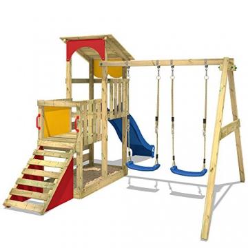 WICKEY Spielturm Smart Scoop Kletterturm Klettergerüst mit Rutsche, doppelter Schaukel, Kletterwand und Sandkasten, blaue Rutsche + gelb-rote Plane - 4