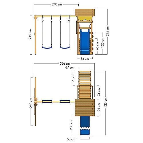 WICKEY Spielturm Smart Scoop Kletterturm Klettergerüst mit Rutsche, doppelter Schaukel, Kletterwand und Sandkasten, blaue Rutsche + gelb-rote Plane - 6