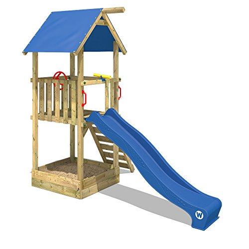 WICKEY Spielturm Smart Tale Spielhaus Kletterturm mit Rutsche, Sandkasten und Kletterleiter, blau - 2