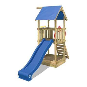 WICKEY Spielturm Smart Tale Spielhaus Kletterturm mit Rutsche, Sandkasten und Kletterleiter, blau - 3