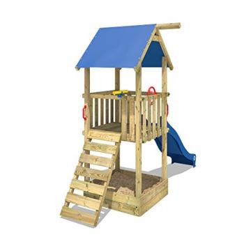 WICKEY Spielturm Smart Tale Spielhaus Kletterturm mit Rutsche, Sandkasten und Kletterleiter, blau - 5