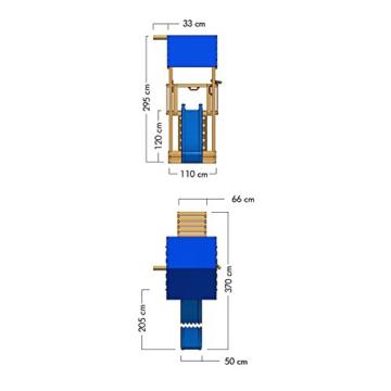 WICKEY Spielturm Smart Tale Spielhaus Kletterturm mit Rutsche, Sandkasten und Kletterleiter, blau - 6