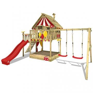 WICKEY Spielturm Smart Trip - Klettergerüst mit Stelzenhaus, massivem Holzdach, Schaukel, Kletterleiter, Sandkasten und blauer Wellenrutsche - 2