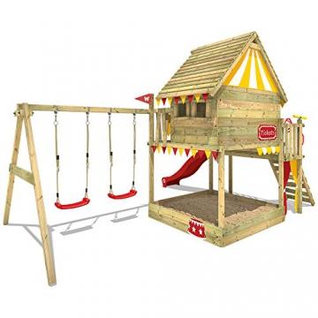 WICKEY Spielturm Smart Trip - Klettergerüst mit Stelzenhaus, massivem Holzdach, Schaukel, Kletterleiter, Sandkasten und blauer Wellenrutsche - 3