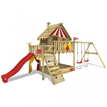WICKEY Spielturm Smart Trip - Klettergerüst mit Stelzenhaus, massivem Holzdach, Schaukel, Kletterleiter, Sandkasten und blauer Wellenrutsche - 4