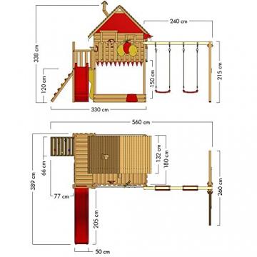 WICKEY Spielturm Smart Trip - Klettergerüst mit Stelzenhaus, massivem Holzdach, Schaukel, Kletterleiter, Sandkasten und blauer Wellenrutsche - 6