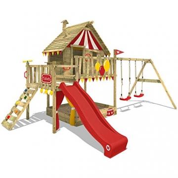 WICKEY Spielturm Smart Trip Kletterturm Zirkuszelt Spielhaus mit Schaukel und Rutsche, Holzdach, Sandkasten und Veranda - 1