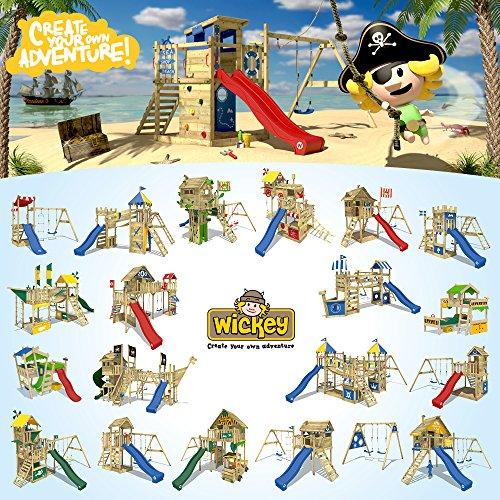 WICKEY Spielturm Smart Trip Kletterturm Zirkuszelt Spielhaus mit Schaukel und Rutsche, Holzdach, Sandkasten und Veranda - 5