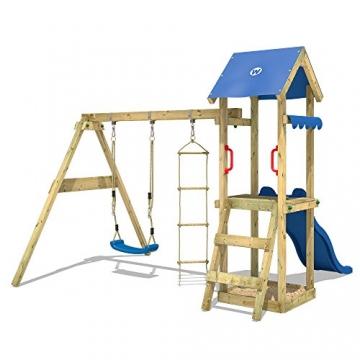 WICKEY Spielturm TinyCabin Kletterturm Spielplatz mit Schaukel und Rutsche, Sandkasten und Strickleiter - 2