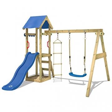 WICKEY Spielturm TinyCabin Kletterturm Spielplatz mit Schaukel und Rutsche, Sandkasten und Strickleiter - 3