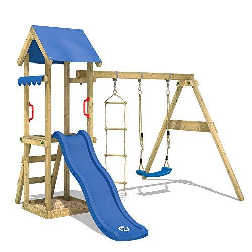 WICKEY Spielturm TinyCabin Kletterturm Spielplatz mit Schaukel und Rutsche, Sandkasten und Strickleiter - 1