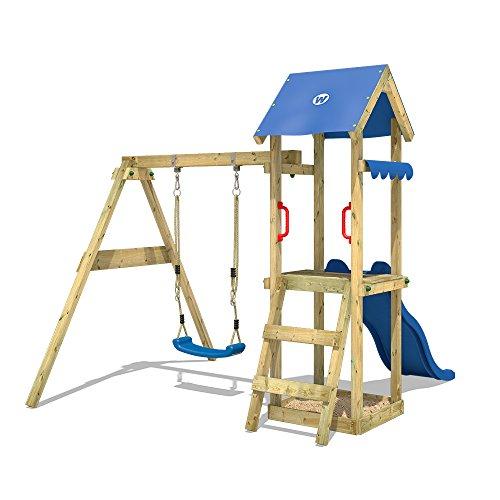 WICKEY Spielturm TinyWave Kletterturm Spielhaus mit Rutsche und Schaukel, Sandkasten und Kletterleiter, blaue Rutsche + blaue Plane - 2