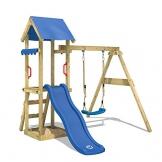 WICKEY Spielturm TinyWave Kletterturm Spielhaus mit Rutsche und Schaukel, Sandkasten und Kletterleiter, blaue Rutsche + blaue Plane - 1