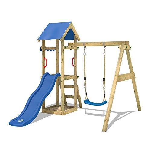 WICKEY Spielturm TinyWave Kletterturm Spielhaus mit Rutsche und Schaukel, Sandkasten und Kletterleiter, blaue Rutsche + blaue Plane - 3