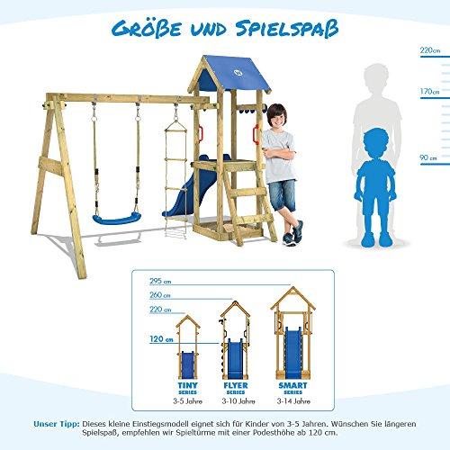 WICKEY Spielturm TinyWave Kletterturm Spielhaus mit Rutsche und Schaukel, Sandkasten und Kletterleiter, blaue Rutsche + blaue Plane - 4