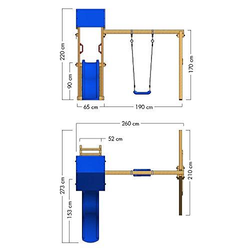 WICKEY Spielturm TinyWave Kletterturm Spielhaus mit Rutsche und Schaukel, Sandkasten und Kletterleiter, blaue Rutsche + blaue Plane - 6