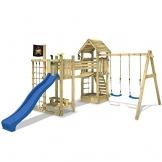 WICKEY Stelzenhaus Hillbilly's Farm Spielburg Spielturm mit Schaukel, Rutsche, Brücke und viel Spiel-Zubehör, blaue Rutsche + blaue Schaukelsitze -