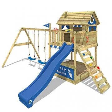 WICKEY Stelzenhaus Smart Seaside Spielturm Spielhaus mit großem Sandkasten, Holzdach, Veranda, Doppelschaukel und Rutsche - 2