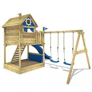 WICKEY Stelzenhaus Smart Seaside Spielturm Spielhaus mit großem Sandkasten, Holzdach, Veranda, Doppelschaukel und Rutsche - 3