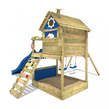 WICKEY Stelzenhaus Smart Seaside Spielturm Spielhaus mit großem Sandkasten, Holzdach, Veranda, Doppelschaukel und Rutsche - 4