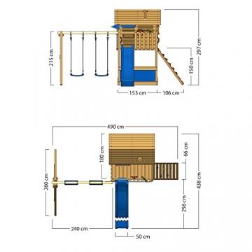 WICKEY Stelzenhaus Smart Seaside Spielturm Spielhaus mit großem Sandkasten, Holzdach, Veranda, Doppelschaukel und Rutsche - 6