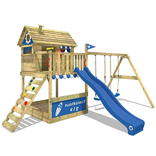 WICKEY Stelzenhaus Smart Seaside Spielturm Spielhaus mit großem Sandkasten, Holzdach, Veranda, Doppelschaukel und Rutsche - 1