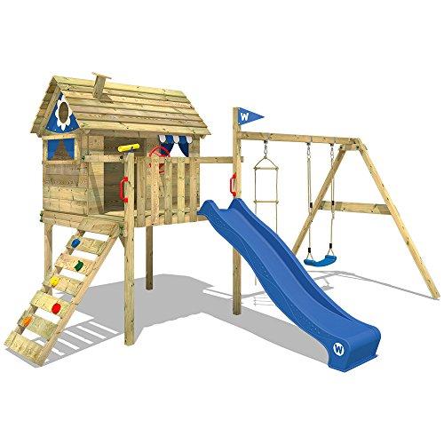 WICKEY Stelzenhaus Smart Travel Spielturm Spielhaus auf Stelzen mit Holzdach, Veranda, Rutsche und Schaukel - 2