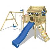 WICKEY Stelzenhaus Smart Travel Spielturm Spielhaus auf Stelzen mit Holzdach, Veranda, Rutsche und Schaukel - 1