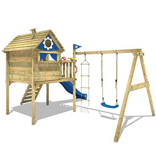WICKEY Stelzenhaus Smart Travel Spielturm Spielhaus auf Stelzen mit Holzdach, Veranda, Rutsche und Schaukel - 3