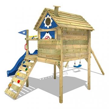 WICKEY Stelzenhaus Smart Travel Spielturm Spielhaus auf Stelzen mit Holzdach, Veranda, Rutsche und Schaukel - 4