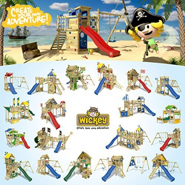 WICKEY Stelzenhaus Smart Travel Spielturm Spielhaus auf Stelzen mit Holzdach, Veranda, Rutsche und Schaukel - 5