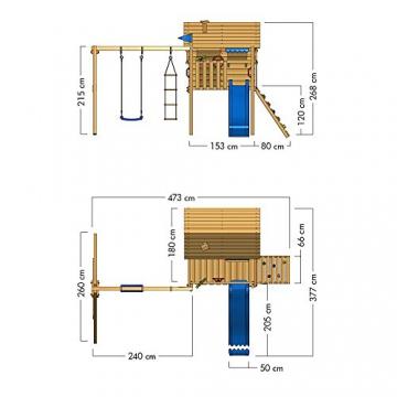 WICKEY Stelzenhaus Smart Travel Spielturm Spielhaus auf Stelzen mit Holzdach, Veranda, Rutsche und Schaukel - 6
