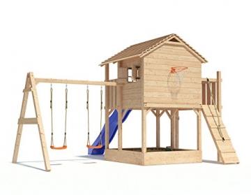 XL-Baumhaus COLINO von Oskar Spielturm mit Schaukelanbau, XXL- Rutsche, Basketballkorb, Sandkasten, Balkon und Kletterrampe auf 1,50 Meter Podesthöhe (2017) (blau) (Blau) - 2