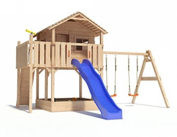 XL-Baumhaus COLINO von Oskar Spielturm mit Schaukelanbau, XXL- Rutsche, Basketballkorb, Sandkasten, Balkon und Kletterrampe auf 1,50 Meter Podesthöhe (2017) (blau) (Blau) - 1